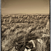 A nude woman lies in the grass in the desert next to an Underwood No 5 manual typewriter holding out a page of a manuscript