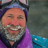 Dr. Peter Hackett smiles about a powder day at Montana's Big Sky resort.