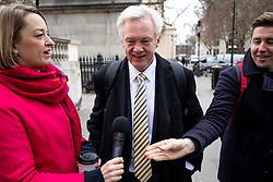 © Licensed to London News Pictures. 15/01/2019. London, UK. Former Secretary of State for Exiting the European Union David Davis (centre) arrives to speak at 'A Better Deal' event, outlining the opportunities if Parliament rejects the Government's proposed deal. Today, MPs are due to vote on British Prime Minister Theresa May's EU withdrawal deal, after the previous vote in December was postponed. Photo credit : Tom Nicholson/LNP