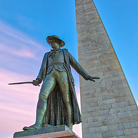 Boston fine art photography images of the historic Bunker Hill Monument and William Prescott in Charlestown, Massachusetts. It is the site of the first major battle of the American Revolution, aka The Battle of Bunker Hill. The Bunker Hill Monument on Breed's Hill is the end of the Boston Freedom Trail. Visiting this historic site and climbing to the top of the pinnacle is an experience itself but the vistas of Boston and surrounding areas are amazing and well worth the trip up the 294 steps.<br />