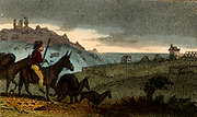 Cornish tinners using pack mules to carry their ore from the mine to the smelting house.   From 'Scenes in England' by the Rev. Isaac Taylor, London, 1822. Hand-coloured engraving.