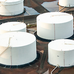 Drone view of Oil Storage Terminal Tanks
