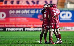 Scarlets' Dan Jones celebrates his last minute penalty to tie the game<br /> <br /> Photographer Craig Thomas/Replay Images<br /> <br /> Guinness PRO14 Round 17 - Scarlets v Leinster - Friday 9th March 2018 - Parc Y Scarlets - Llanelli<br /> <br /> World Copyright © Replay Images . All rights reserved. info@replayimages.co.uk - http://replayimages.co.uk