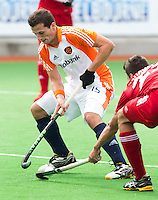 MELBOURNE -     Sander Baart (l) tijdens de hockeywedstrijd tussen de mannen van Nederland en Belgie (5-4) bij de Champions Trophy hockey in Melbourne. . ANP KOEN SUYK
