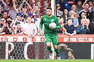Queens Park Rangers Goalkeeper Matt Ingram (13) saves a penalty during the EFL Sky Bet Championship match between Brentford and Queens Park Rangers at Griffin Park, London, England on 21 April 2018. Picture by Stephen Wright.