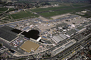 Aerial of the Paris Air Show, at Le Bourget Airport, France. Held every other year, the event is one of the world's biggest international trade fairs in the world for the aerospace business.