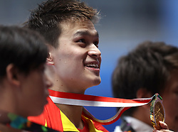 JAKARTA, Aug. 19, 2018  Sun Yang of China attends the awarding ceremony after winning the gold medal of the Men's 200m Freestyle Final in the 18th Asian Games in Jakarta, Indonesia, Aug. 19, 2018. (Credit Image: © Fei Maohua/Xinhua via ZUMA Wire)
