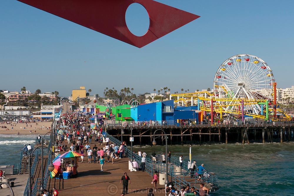 Santa Monica Beach and Pier. Los Angeles, CA.