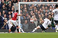 Anthony Martial of Manchester United taking a shot at goal. Barclays Premier league match, Tottenham Hotspur v Manchester Utd at White Hart Lane in London on Sunday 10th April 2016.<br /> pic by John Patrick Fletcher, Andrew Orchard sports photography.