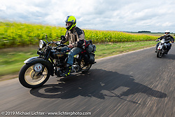 Loring Hill riding a Henderson Motorcycle during the Cross Country Chase motorcycle endurance run from Sault Sainte Marie, MI to Key West, FL (for vintage bikes from 1930-1948). Stage 3 from Milwaukee, WI to Urbana, IL. USA. Sunday, September 8, 2019. Photography ©2019 Michael Lichter.