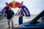 Seth Quintero prepare to drive while they unveil their custom-built SXS course TexPlex in Dallas, Texas, USA on 29 August, 2021.