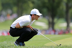 August 9, 2018 - St. Louis, Missouri, United States - Rory McIlroy lines up a putt during the first round of the 100th PGA Championship at Bellerive Country Club. (Credit Image: © Debby Wong via ZUMA Wire)
