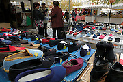 local outdoor market shoes and slippers display
