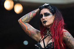 Cervena Fox during the International tattoo convention at Tobacco Dock in east London.