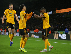 Wolverhampton Wanderers' Ivan Cavaleiro (right)  celebrates scoring his side's second goal of the game with Wolverhampton Wanderers' Helder Costa (centre)