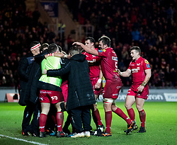 Scarlets celebrates scoring their third try<br /> <br /> Photographer Simon King/Replay Images<br /> <br /> European Rugby Champions Cup Round 6 - Scarlets v Toulon - Saturday 20th January 2018 - Parc Y Scarlets - Llanelli<br /> <br /> World Copyright © Replay Images . All rights reserved. info@replayimages.co.uk - http://replayimages.co.uk