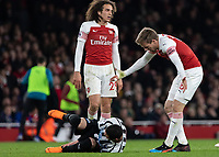 Football - 2018 / 2019 Premier League - Arsenal vs. Newcastle United<br /> <br /> Nacho Monreal (Arsenal FC) shouts at Ayoze Perez (Newcastle United)  as he lays on the floor after a tackle from the Arsenal player at The Emirates.<br /> <br /> COLORSPORT/DANIEL BEARHAM