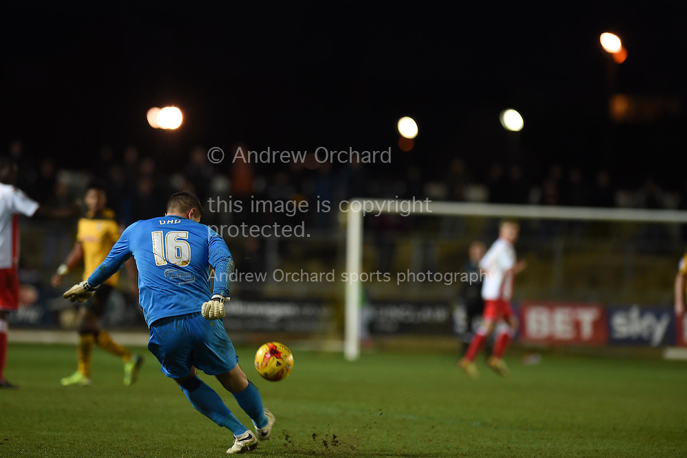 Chris Day, the Stevenage goalkeeper takes a freekick. Skybet football league two match, Newport county v Stevenage at Rodney Parade in Newport, South Wales on Saturday 13th December 2014<br /> pic by Andrew Orchard, Andrew Orchard sports photography.