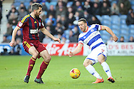 Ipswich Town defender Luke Chambers (4) battles for possesion with Queens Park Rangers forward Conor Washington (9) during the EFL Sky Bet Championship match between Queens Park Rangers and Ipswich Town at the Loftus Road Stadium, London, England on 2 January 2017. Photo by Matthew Redman.
