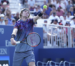 September 4, 2017 - New York, New York, United States - Andrey Rublev of Russia serves during match against David Goffin of Belgium at US Open Championships at Billie Jean King National Tennis Center (Credit Image: © Lev Radin/Pacific Press via ZUMA Wire)