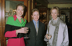 Left to right, MISS TIGGY LEGGE-BOURKE, her stepbrother sculptor ROBERT RATTRAY and his stepsister MRS RICHARD PLUNKETT-ERNLE-ERLE-DRAX,  at an exhibition in London on April 24th 1997.LXY 11