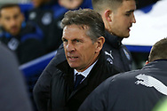 Leicester City Manager Claude Puel looks on. Premier league match, Everton v Leicester City at Goodison Park in Liverpool, Merseyside on Wednesday 31st January 2018.<br /> pic by Chris Stading, Andrew Orchard sports photography.