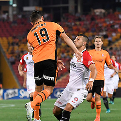 BRISBANE, AUSTRALIA - DECEMBER 22: Jack Hingert of the Roar heads the ball over Jaushua Sotirio of the Wanderers during the round 4 Foxtel National Youth League match between the Brisbane Roar and Melbourne City at AJ Kelly Field on December 22, 2016 in Brisbane, Australia. (Photo by Patrick Kearney/Brisbane Roar)