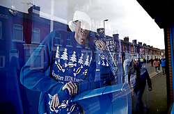 A general view of an Everton Christmas themed window display prior to the beginning of the match at Goodison Park