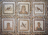 Picture of a Roman mosaics design depicting Dionysus, God of wine, surrounded by women's busts representing the Four Seasons, from the ancient Roman city of Thysdrus. 3rd century AD. El Djem Archaeological Museum, El Djem, Tunisia. .<br /> <br /> If you prefer to buy from our ALAMY PHOTO LIBRARY Collection visit : https://www.alamy.com/portfolio/paul-williams-funkystock/roman-mosaic.html . Type - El Djem - into the LOWER SEARCH WITHIN GALLERY box. Refine search by adding background colour, place, museum etc<br /> <br /> Visit our ROMAN MOSAIC PHOTO COLLECTIONS for more photos to download as wall art prints https://funkystock.photoshelter.com/gallery-collection/Roman-Mosaics-Art-Pictures-Images/C0000LcfNel7FpLI