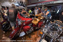 Inside the Beach Street Indian Dealership during Daytona Beach Bike Week 2015. FL, USA. March 14, 2015.  Photography ©2015 Michael Lichter.