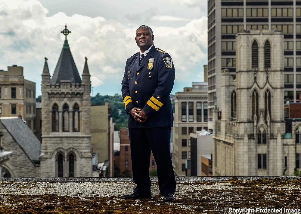 Syracuse Police Chief, Frank Fowler, poses in his office in Syracuse, NY,  Tuesday, June 27, 2017.<br /> (Photo by Heather Ainsworth)