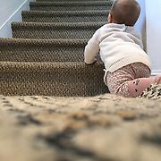A nine month old baby girl contemplates crawling up the stairs.  Photo Tim Clayton