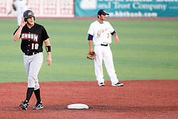 11 July 2012:  Joash Brodin (London Slammers) takes a lead from 2nd base during the Frontier League All Star Baseball game at Corn Crib Stadium on the campus of Heartland Community College in Normal Illinois