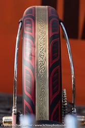 Engraved rear fender in the Harley-Davidson Editors Choice bike show at the Broken Spoke Saloon. Daytona Bike Week 75th Anniversary event. FL, USA. Wednesday March 9, 2016.  Photography ©2016 Michael Lichter.