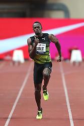 July 21, 2017 - Monaco, Monaco - Usain Bolt of Jamaica runs to win the Men 100m of the IAAF Diamond League Herculis meeting at the Stade Louis II in Monaco on July 17, 2017. (Credit Image: © Manuel Blondeau via ZUMA Wire)