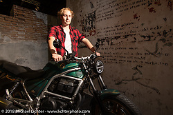 21 year old Niklas Hardeweg won a Honda CB450S that was customized by him with a group of craftspeople in the Intermot Customized Hall 10 during the Intermot International Motorcycle Fair. Cologne, Germany. Sunday October 7, 2018. Photography ©2018 Michael Lichter.