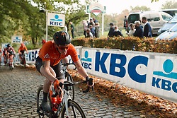 Lily Williams (USA) on Kemmelberg at the 2020 Gent Wevelgem - Elite Women, a 141.4 km road race from Ieper to Wevelgem, Belgium on October 11, 2020. Photo by Sean Robinson/velofocus.com