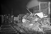 23/01/1962<br /> 01/23/1962<br /> 23 January 1962<br /> Car/train crash at Sandymount Avenue, Dublin. A twisted heap of metal was all that remained of the car driven by Colonel Lewis after colliding with a train at Sandymount Avenue level crossing, Dublin.