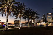 City skyline and palm trees from the Southbank Riverwalk along the St. John's River at sunset in Jacksonville, Florida.
