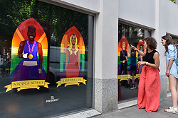 © Licensed to London News Pictures. 07/07/2017. London, UK. Images of (L to R) Boxer Nicola Adams, actress Laverne Cox, comedienne Ellen Degeneres and singer George Michael, are unveiled by Mr President, a Soho advertising agency, as a tribute to modern icons of tolerance and acceptance, to support the LGBT community, ahead of the annual Pride parade tomorrow.   Photo credit : Stephen Chung/LNP