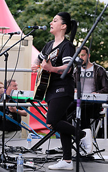 Party at the Palace, Linlithgow, Saturday 12th August 2017<br /> <br /> Lucy Spraggan performs on the Break Out Stage at Party at the Palace 2017.<br /> <br /> The Break Out Stage was sponsored by The Scottish Sun newspaper but Lucy refused to perform unless the banner was removed. Stagehands rolled up the banner so the branding couldn't be seen.<br /> <br /> (c) Alex Todd | Edinburgh Elite media
