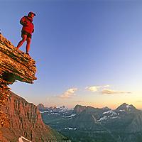 MOUNTAINEERING. Steve Shimek (MR) on Mount Gould. Glacier National Park, Montana.
