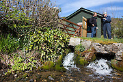 Welsh sheep farmer Howell Williams and Chris Blake of The Green Valleys  stand on the banks of the stream at the base of the farm 15kW hydro power plant on the Brecon Beacons, Wales.