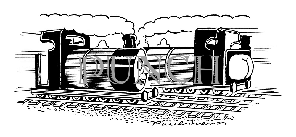 (Thomas the Tank Engine sees the end of a passing train with a bottom sticking out)