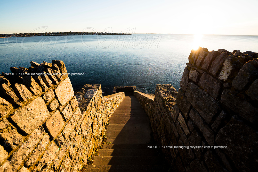Cliff Walk and Forty Steps at sunrise.