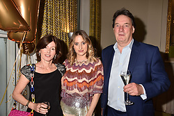 Rosie Fortescue and her parents Nick & Tessa Fortescue at the Rosie Fortescue Jewellery Launch, Brown's Hotel London England. 10 May 2017.<br /> Photo by Dominic O'Neill/SilverHub 0203 174 1069 sales@silverhubmedia.com