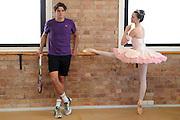 BRISBANE, AUSTRALIA - DECEMBER 30:  Milos Raonic poses with dancer Clare Morehen of the Queensland Ballet at Thomas Dixon Centre on December 30, 2012 in Brisbane, Australia.  (Photo by Matt Roberts/Getty Images)