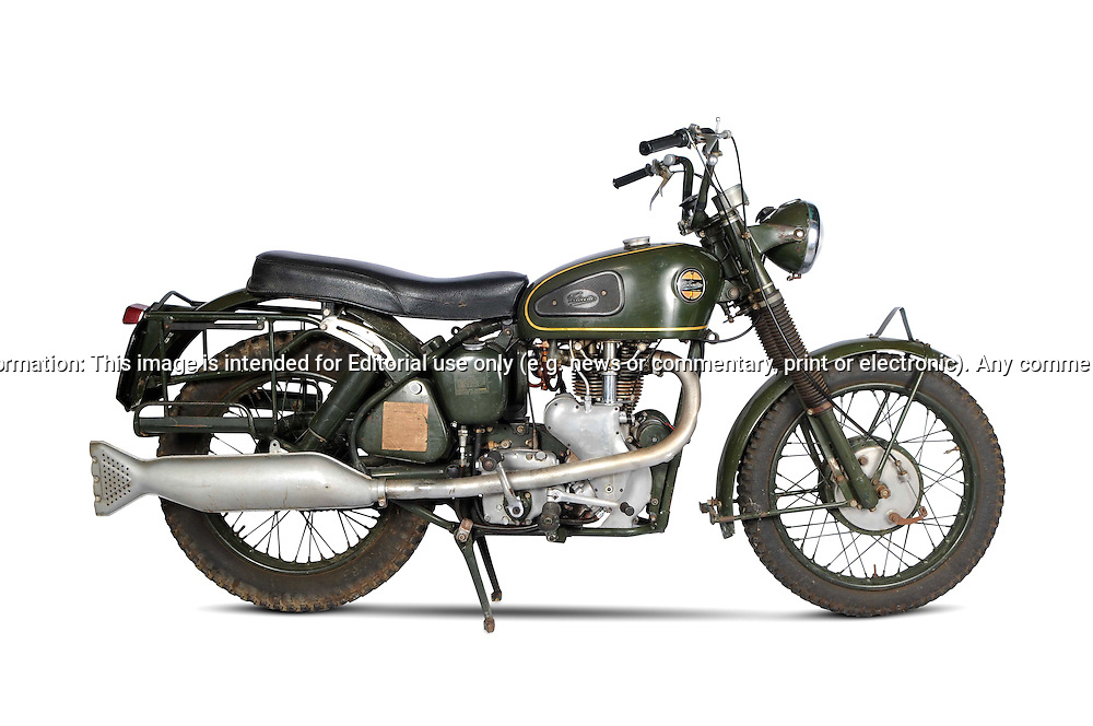 Velocette MSS Army Bike in khaki green.Garage Studio .For Bonhams Auction Catalogue.Melbourne, Victoria, Australia.8th September 2011.(C) Joel Strickland Photographics.Use information: This image is intended for Editorial use only (e.g. news or commentary, print or electronic). Any commercial or promotional use requires additional clearance.