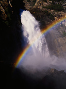 Wapama Falls along the wall of Hetch Hetchy Valley, Yosemite National Park, California.