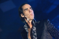 A tight shot off Nick Cave, of Nick Cave and the Bad Seeds, on stage tonight at The Barrowlands, Glasgow, Scotland.<br /> ©Michael Schofield.